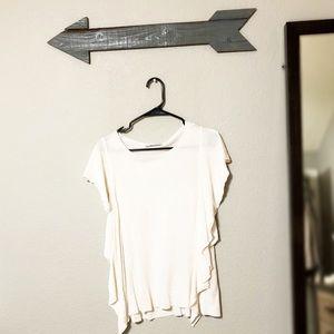 Zara Light Weight Flutter Sleeves Cream Sweater